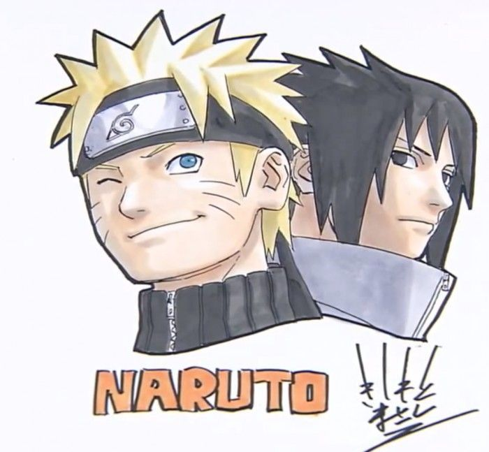 Superbe dessin de sasuke et naruto par masashi kishimoto - Dessin naruto et sasuke ...